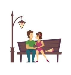 Kissing couple on a bench flat desing vector