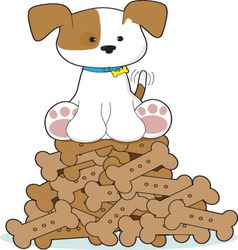 Cute puppy and bones vector
