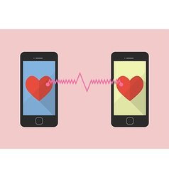 Two hearts icon was connected by two smartphones vector