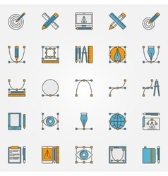 Colorful graphic design icons vector
