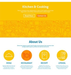 Kitchen and Cooking Line Art Web Design Template vector image