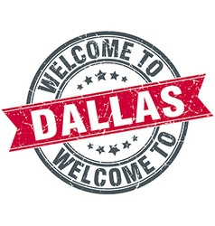 Welcome to dallas red round vintage stamp vector