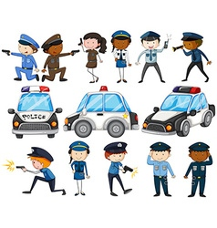 Set of police officers and cars vector