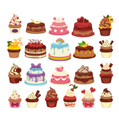 amazing festive cakes and tasty cupcakes of vector image