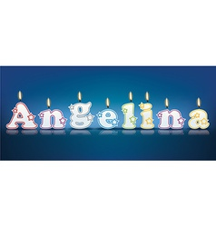 Angelina written with burning candles vector