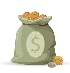 Bag of money with golden and silver coins isolated vector