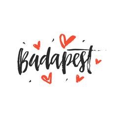 Budapest modern city hand written brush lettering vector