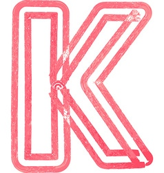 Capital letter k drawing with red marker vector