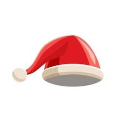 Christmas red hat with pompom icon cartoon style vector