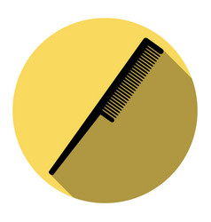 Comb sign flat black icon with flat vector