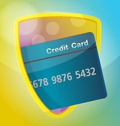 Credit card protect shield gold finance vector