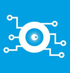 Cyber eye symbol icon white vector