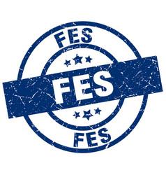 Fes blue round grunge stamp vector