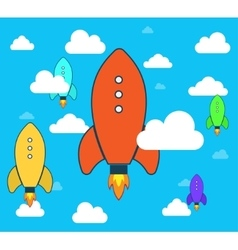 Flat rocket icon startup project development vector
