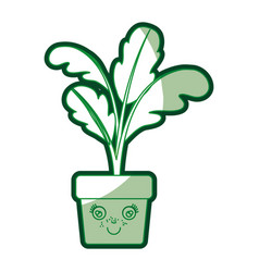 Green silhouette of caricature of beet plant in vector