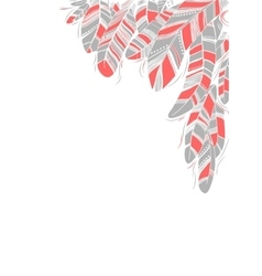 Grey and pink drawn feathers background vector image