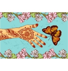 hand and butterfly vector image