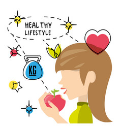 Healthy woman eat apple to carry healthy lifestyle vector