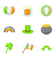 Ireland travel icons set cartoon style vector