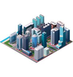 Isometric city center map vector