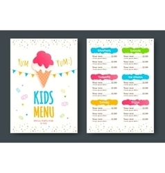 Kids menu template vector