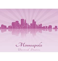 Minneapolis skyline in purple radiant orchid vector