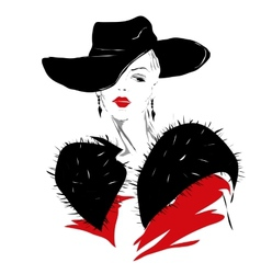 Modern girl sketch red lips fashionable hairstyle vector