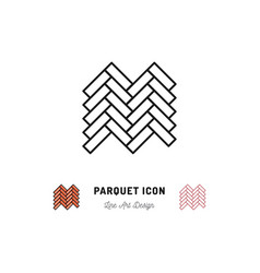 parquet icon wooden floor symbol thin vector image