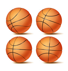 realistic basketball ball set classic vector image