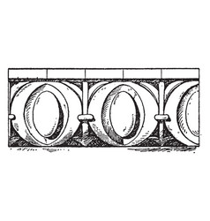Roman egg-and-dart moulding erechtheion vintage vector