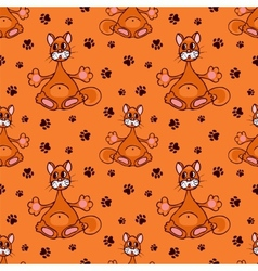 seamless pattern with red cat vector image vector image