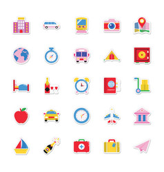 summer and holidays icons 7 vector image