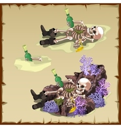 Three image of a sunken skeleton with bottle vector image