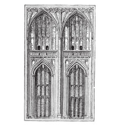 Two bays building and aisles run vintage engraving vector