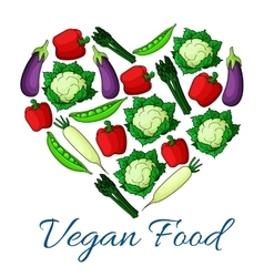Vegan food badge of vegetables harvest vector