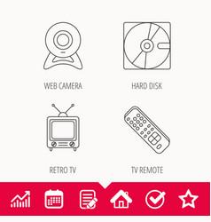 Web camera retro tv and hard disk icons vector