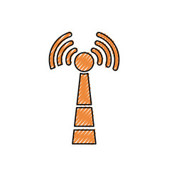 wireless sign doodle vector image vector image