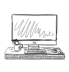 Workplace with laptop notebook tablet sketch vector