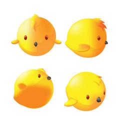 yellow cute little bird dimention vector image