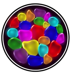 Transparent color drops on black background vector