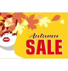 Autumn sale banner fashion girl colored leaves vector
