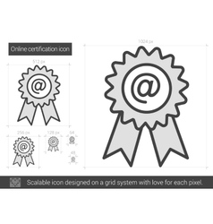 Online certification line icon vector
