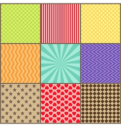 Set of nine simple geometric patterns vector