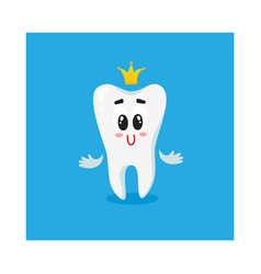 Cute and happy shiny white tooth character with vector