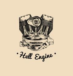 Hell engine vintage motorcycle logo biker vector