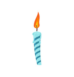 Candle birthday cake festive blue candle isolated vector