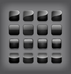 Set of blank black buttons vector