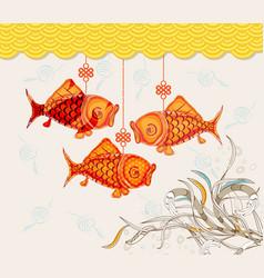 Chinese carp lantern festival doodle graphic vector