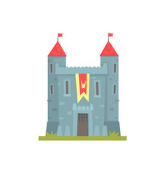 Old stone castle with towers ancient architecture vector