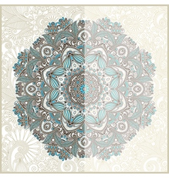 Ornamental circle template with floral background vector